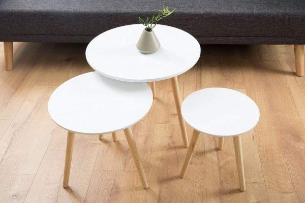 Konferenčný stolík Scandinavia set 3ks biela