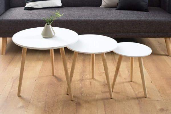 Biely drevený konferenčný stolík Scandinavia set 3 ks »