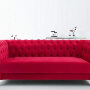 Sofa Chesterfield 200cm zamat červená