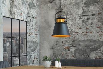 Závesná lampa Luz II čiernozlatá