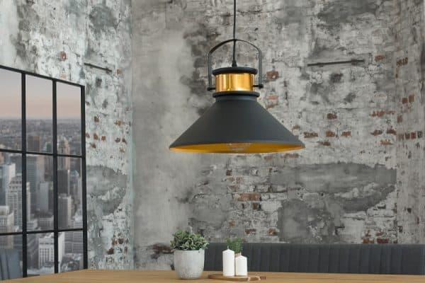 Závesná lampa Luz III čiernozlatá