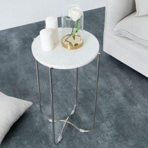 Konferenčný stolík Noble biela mramor strieborná