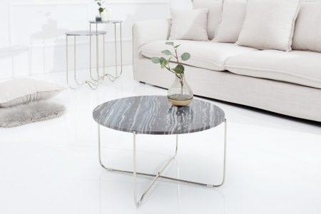 Strieborný mramorový konferenčný stolík Noble Ø 60 cm