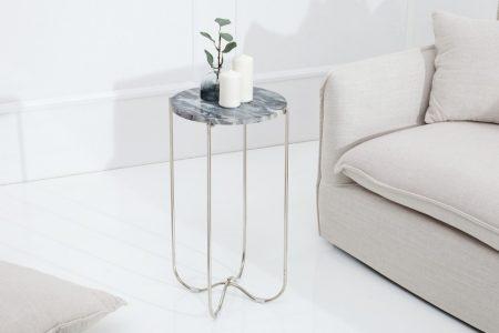 Strieborný mramorový konferenčný stolík NobleØ 32 cm
