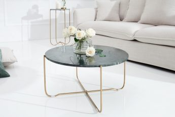 Konferenčný stolík Noble zelená mramor zlatá