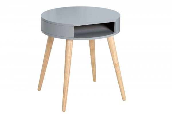 Nachttisch Scandinavia rund sivá dub