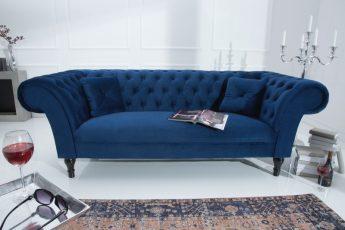 Sofa Contessa 225cm königsblau zamat