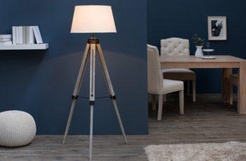 Stojanová lampa Sylt 99-143cm béžová drevo (masív)