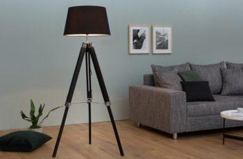 Stojanová lampa Sylt 99-143cm čierna drevo (masív)
