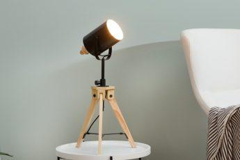 Stolová lampa Tripod čierna drevo (masív)