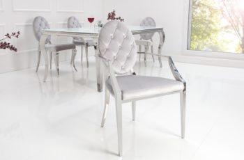 Stolička Modern Barock m. Armlehne sivá