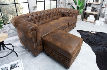 Fußhocker Chesterfield antik hnedá