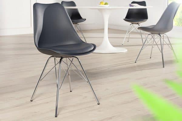 Sivá jedálenská stolička Scandinavia Retro