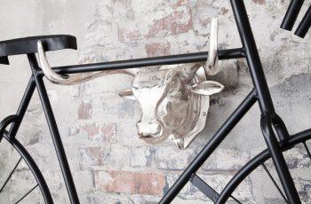 Wand-Fahrradhalter Býčia hlava 47cm strieborná
