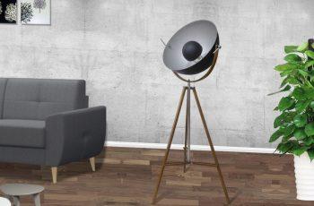 Stojanová lampa Studio drevo čierna strieborná