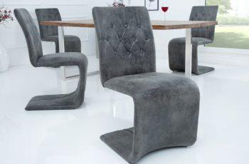 Stolička Victorian vintage sivá
