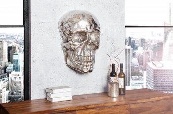 Wandskulptur Skull 40cm strieborná