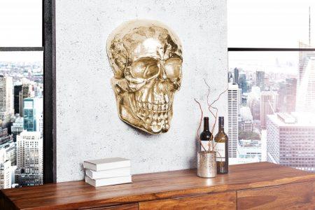 Wandskulptur Skull 40cm zlatá