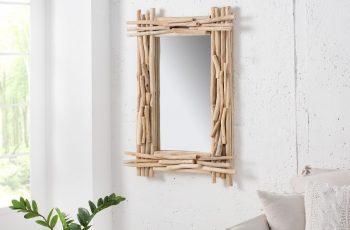 Zrkadlo Driftwood 80cm teakové drevo eckig