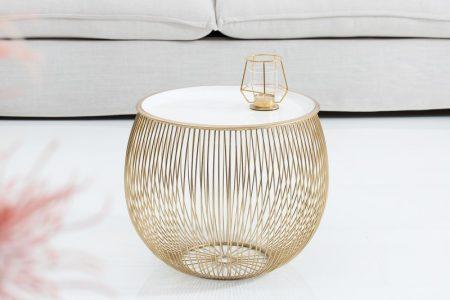 Konferenčný stolík Storage 41cm zlatá biela