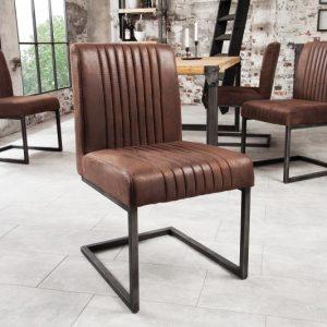 Stolička Big Aston vintage hnedá železo