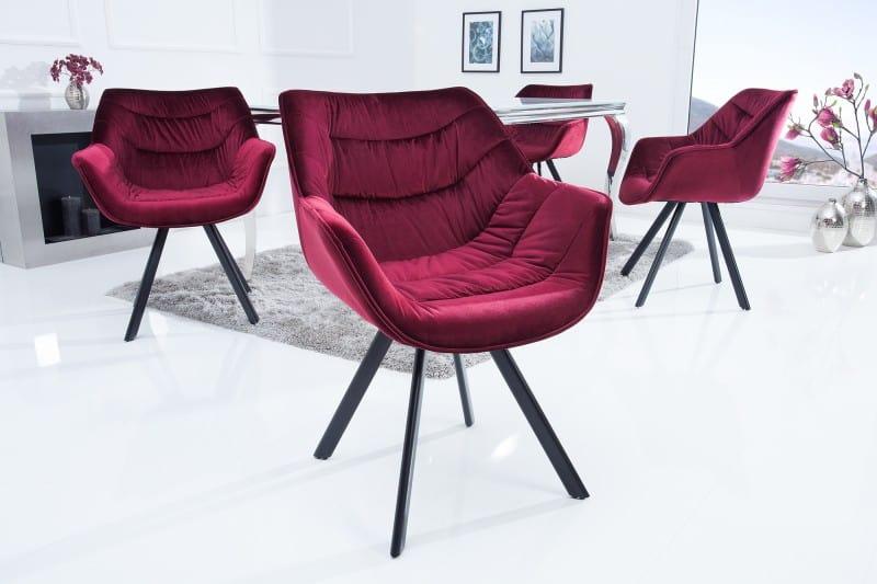Červená zamatová jedálenská stolička The Dutch Comfort » » iKuchyne be45ec70a44