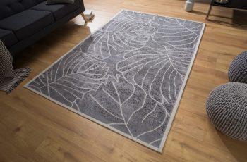 Teppich Leaves 240x165cm sivá