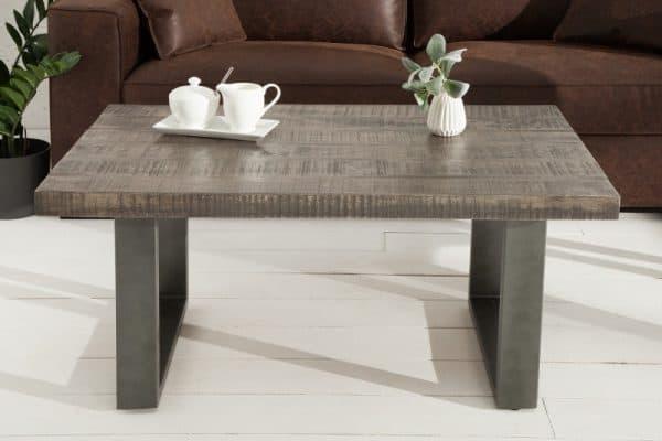 Sivý drevený konferenčný stolík Iron Craft 60 x 100 cm – 45 mm »