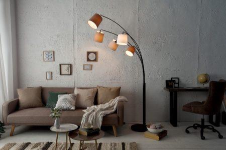 Stojanová lampa Levels biela béžová hnedá