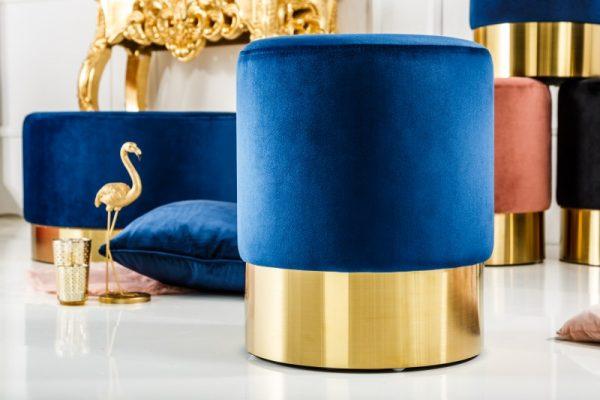 Taburet Modern Barock 35cm blau zlatá