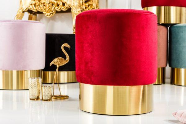 Taburet Modern Barock 35cm červená zlatá