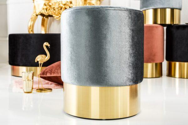 Taburet Modern Barock 35cm strieborná zlatá