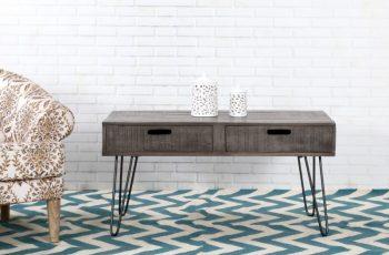 Sivý drevený konferenčný stolík Mantis 50 x 100 cm »