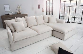 Eck-Sofa Heaven 255cm plátno prírodná