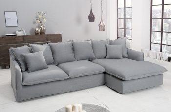 Eck-Sofa Heaven 255cm plátno sivá
