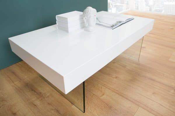Konferenčný stolík Floating 110cm biela sklo