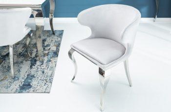 Stolička Modern Barock II zamat sivá
