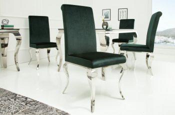 Stolička Modern Barock zamat edelzelená