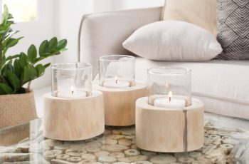 Sviečka Limotion set 3ks teakové drevo