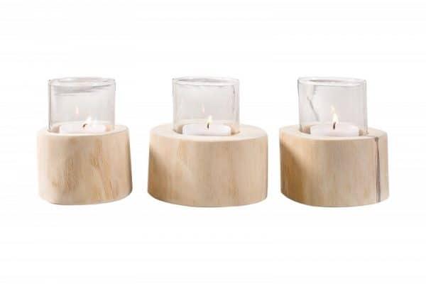 Svietnik Limotion set 3 ks teakové drevo