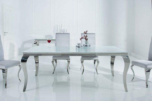 Jedálenský stôl Modern Barock 180cm biela strieborná