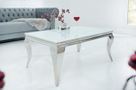 Konferenčný stolík Modern Barock 100cm biela strieborná