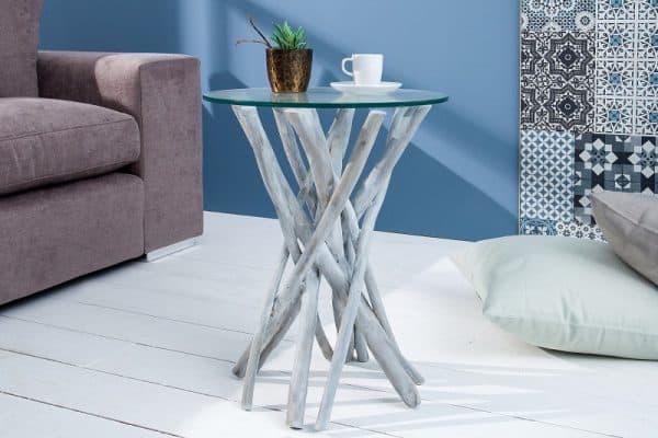 Konferenčný stolík Driftwood naplavené drevo 35cm sivá