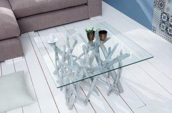 Konferenčný stolík Driftwood naplavené drevo markant sivá