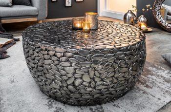 Konferenčný stolík Stone Mosaic 85cm strieborná