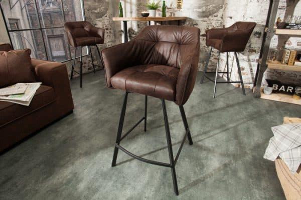 Barová stolička Loft antik hnedá s područou