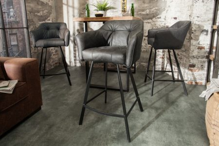 Barová stolička Loft antik sivá s područou