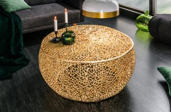 Konferenčný stolík Leaf 80cm zlatá