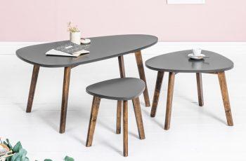 Konferenčný stolík Scandinavia set 3ks sivá