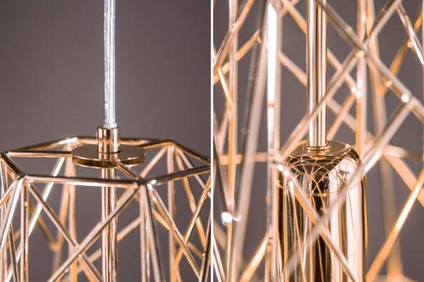 Závesná lampa Cage S rosezlatá